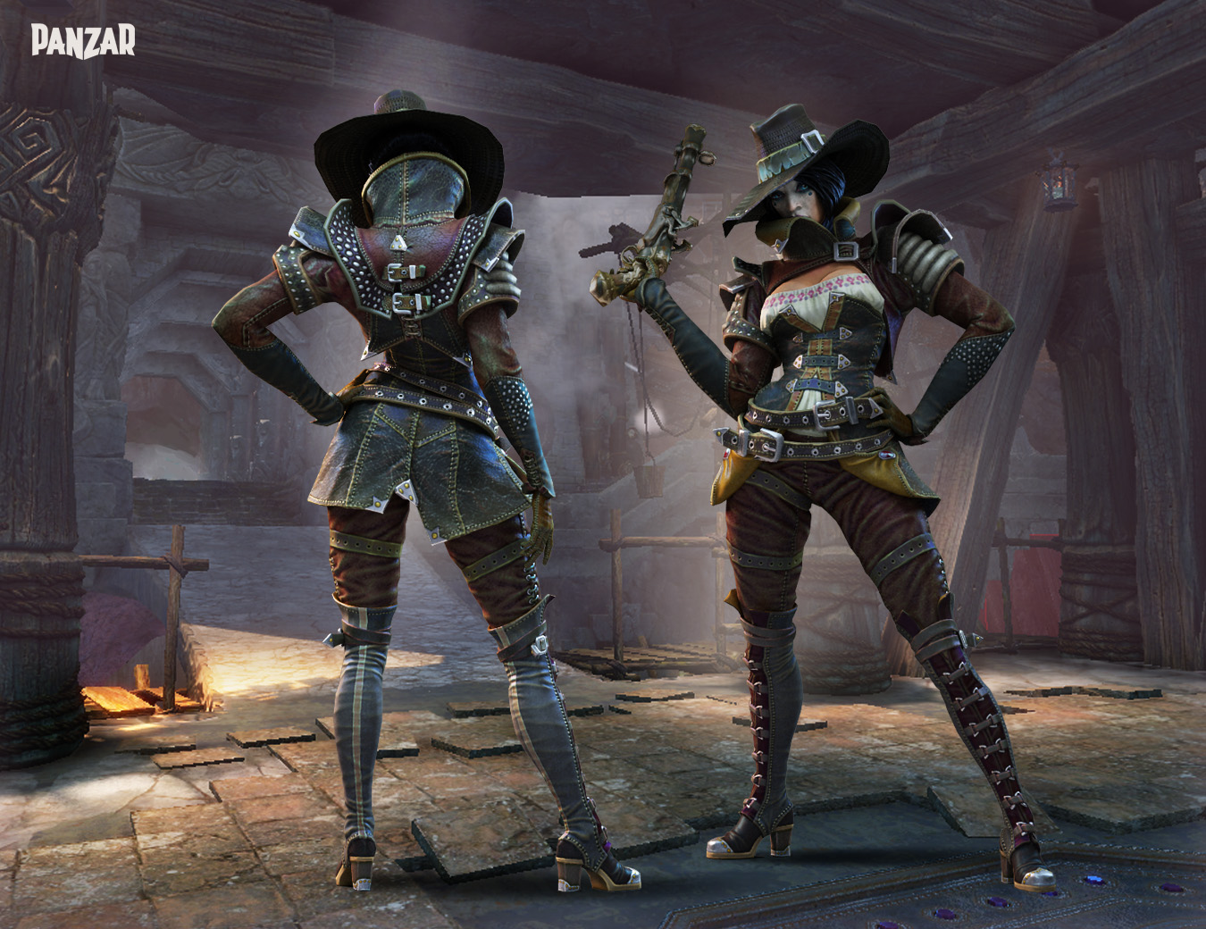 Jing Wei Witch Huntress Cavewoman And Steampunk Skins